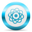 atom blue glossy icon