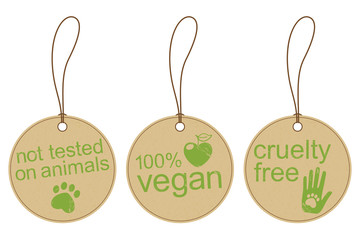 Set of grunge carton tags for vegan and ethical products