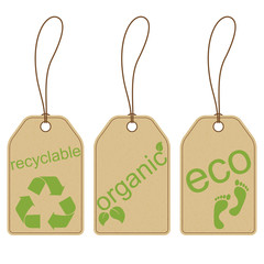 Set of carton tags for recyclable, organic and eco products