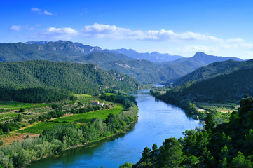 Ebro River passing through Miravet, Spain