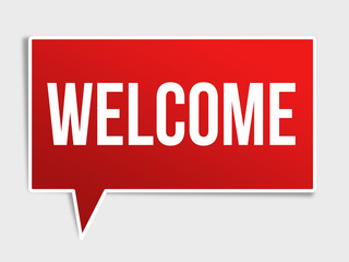 Welcome red speech bubble