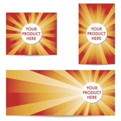 Three abstract product banners