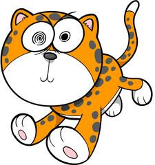 Crazy Insane Leopard Vector Illustration