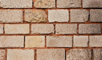 Orange Cream Color Old Stone Wall