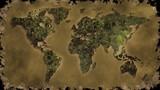 vintage world map burn black screen poster