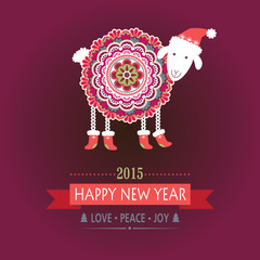 Colorful, cute sheep in Christmas boots. New 2015 Year.