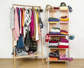 Wardrobe with winter clothes arranged on hangers and a shelf.