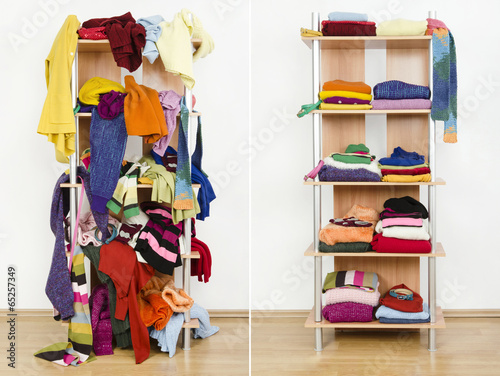 Before untidy after tidy wardrobe with winter clothes on a shelf - 65257349