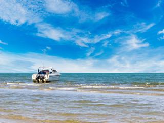 Speedboat at clean beach