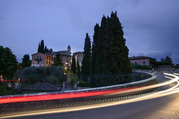 The San Quirico d'Orcia city by night