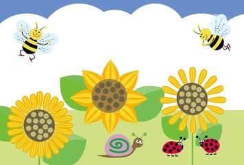 ひまわりとミツバチの夏のPOPカード