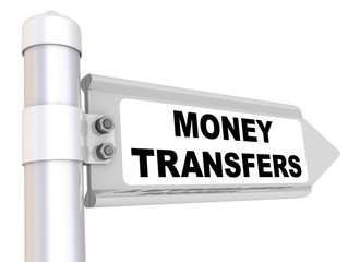 Money transfers. Road sign