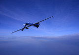 Unmanned drone in flight at dusk poster