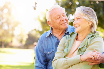 Outdoor Portrait Of Loving Senior Couple