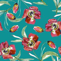 Red tulip seamless pattern