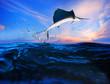 Leinwanddruck Bild - sailfish flying over blue sea ocean
