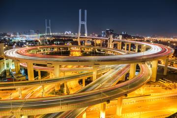 beautiful shanghai nanpu bridge at night