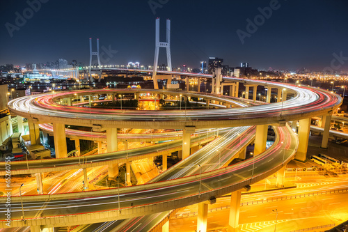 beautiful shanghai nanpu bridge at night