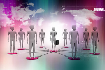3d image of virtual men on global connection