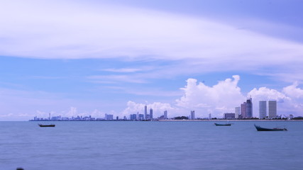 Time lapse of Sea scape of Pattaya city , Thailand