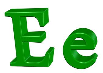 yeşil renkli e harfi