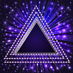 background frame with a triangle with precious stones and beams