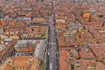 Aerial cityscape view from two towers, Bologna