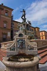 Neptune fontain from low angle at downtown of Bologna