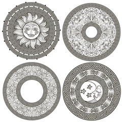 Set of decorative frames and rosettes with the Greek meander