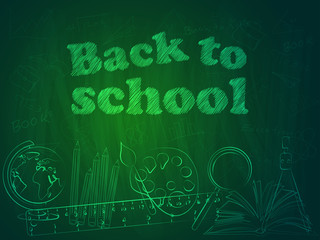 Back to School blackboard background. Vector illustration.