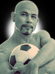 athlet smart man muscle footballer seriously with football