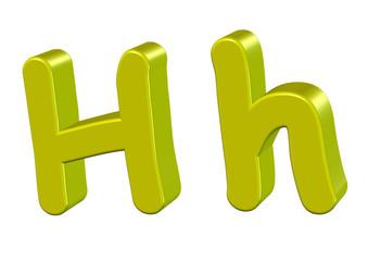 sarı renkli  h harfi