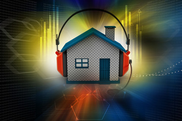 house listening to music while holding headphones