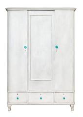 White rustic wardrobe isolated on white background.