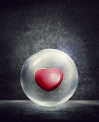 heart inside bubble