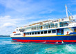 Ferry docked in Poros island in Greece