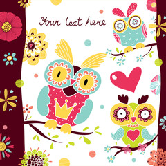 Cute postcard with owls.