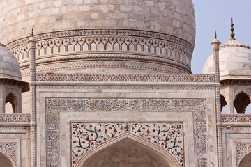 Decortive detail of the central dome of the Taj mahal, Agra