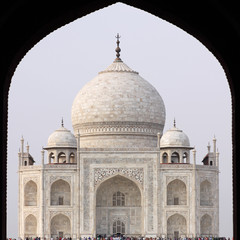 The Taj Mahal seen through the main entrance arch, Agra