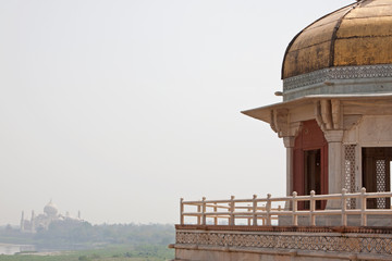 Taj Mahal see from a prison tower in the Agra Fort