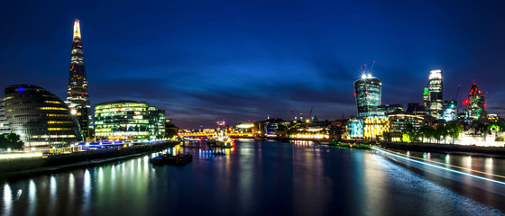 London skyline in deep twilight