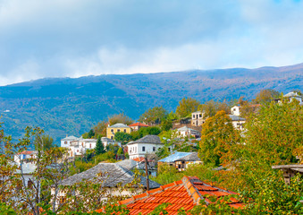 view of Agios Lavrendios village at Pilion mountain in Greece