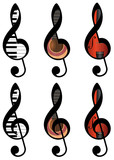 set of abstract treble clefs from piano keys, guitar and violin