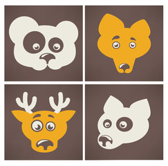 cartoon animal images and icons on dark background