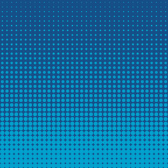 Vector halftone dots. Blue dots on blue background.