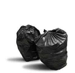 Garbage bag on white background clipping path
