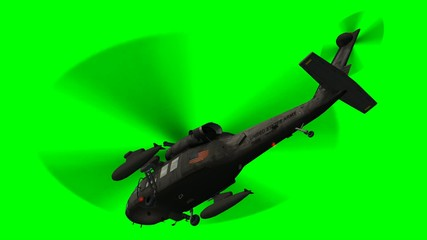 Military Helicopter Uh-60 Black Hawk in fly - green screen