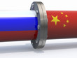 gas tubes with russian and china flag