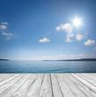 Leinwanddruck Bild - Hintergrund am Wasser