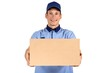 Handsome young delivery man portrait isolated on white.